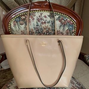 GENUINE COACH LARGE NUDE CROSSGRAIN LEATHER TOTE